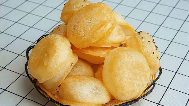 糯米粉用开水一烫,不发面不醒面,个个空心,酥脆香甜真好吃-《娟子美食》