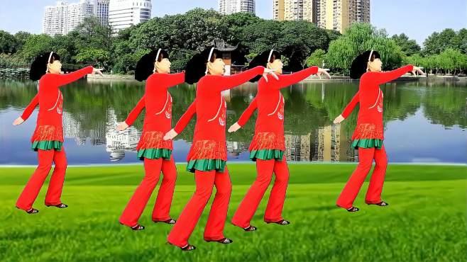 鸽子广场舞父女逛新城-歌声悦耳动听,简单又好看