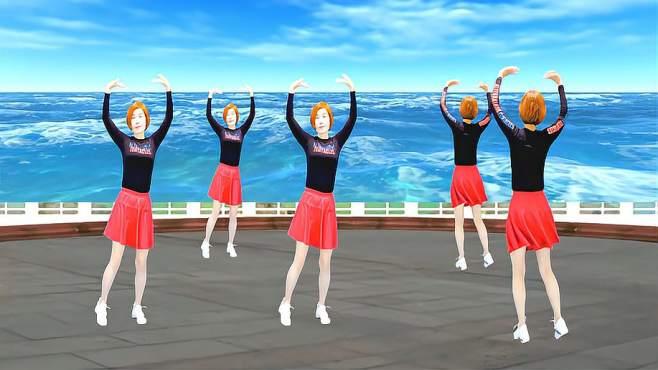 广州红色枫叶广场舞忘川的河-正背面演绎音乐好听舞蹈好看