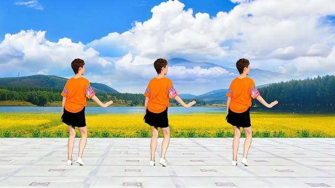舞动朝阳广场舞花间一壶酒-简单时尚爆汗减肥操背面完整版!