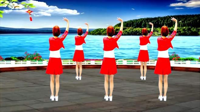 广州红色枫叶广场舞我在梦里等你-背面演绎