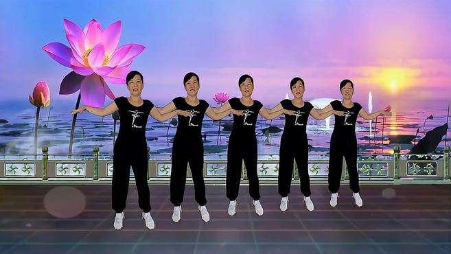 郴州冬菊广场舞天蓝蓝-老歌新舞时尚潮流64步嗨起来附正背面分解