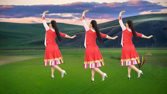 玫香广场舞我的玫瑰卓玛拉-优美大气,背面演示
