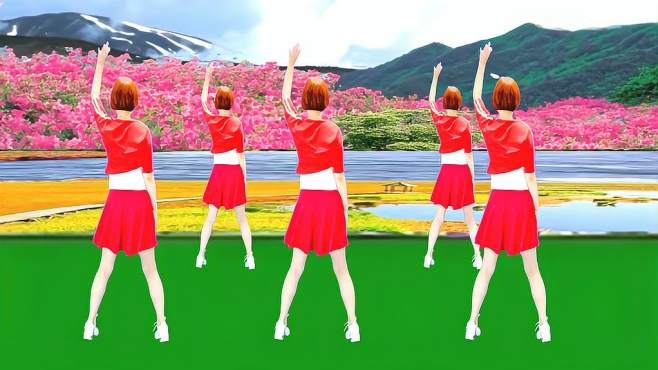 广州红色枫叶广场舞等妹妹-背面演绎一样精彩漂亮