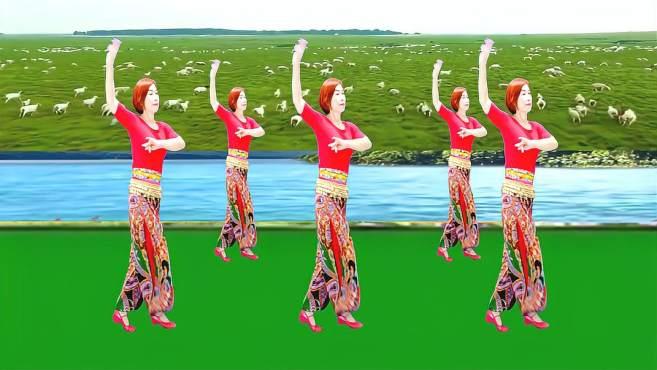 广州红色枫叶广场舞草原绿了-音乐好听舞蹈好看