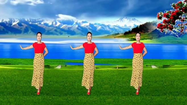 玫瑰怡林广场舞桃花树下唱情歌-舞步优美,好听好看