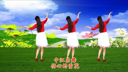 中江乐舞广场舞伤心的雪花-简单优美32步,背面演示