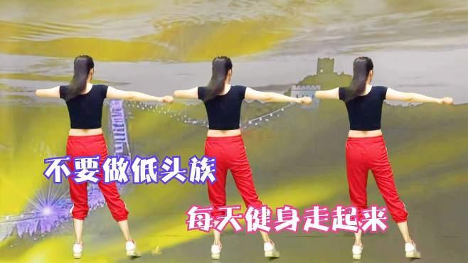 钦钦广场舞DJ万里长城永不倒-背面一扭二拉伸,解决低头族烦恼