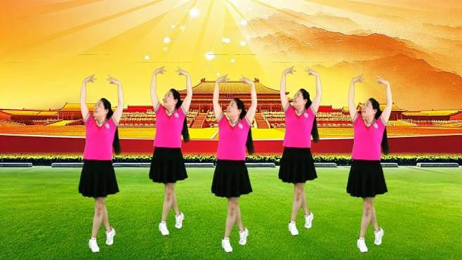 舞韵广场舞祝福你盛世中国-歌曲气势磅礴,舞蹈带劲好看